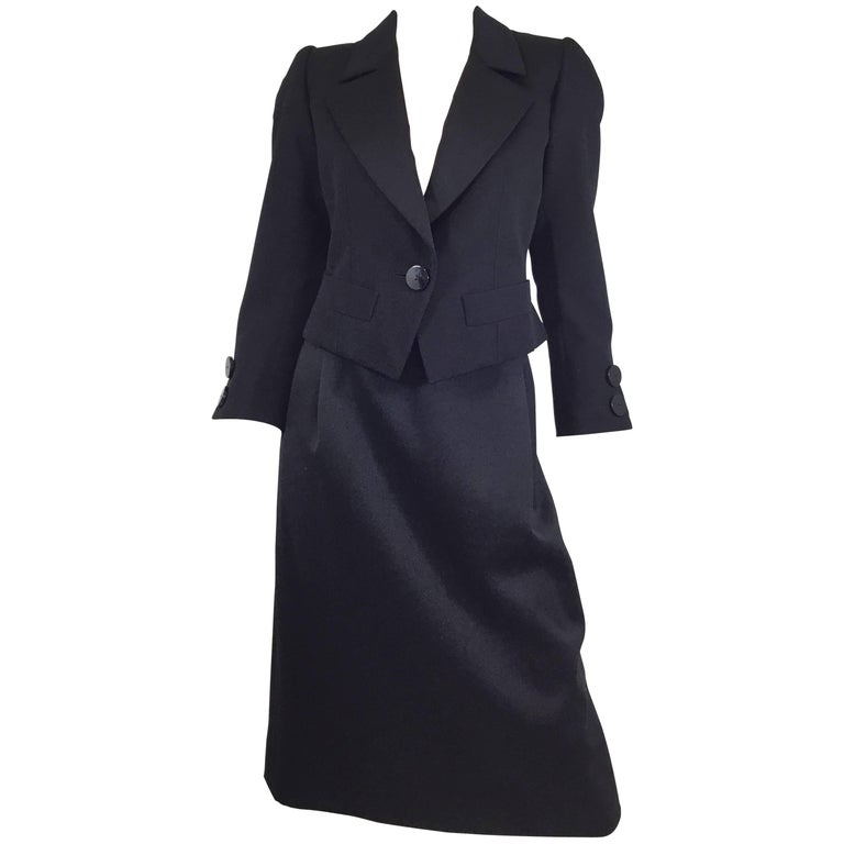 Yves Saint Laurent Rive Gauche Tuxedo Skirt Suit
