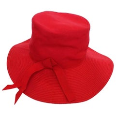 20th Century Red Cotton and Raffia Brim Hat