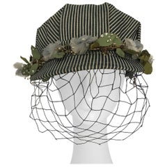 1950s Working Railroad Hat with Silk Flowers and Net