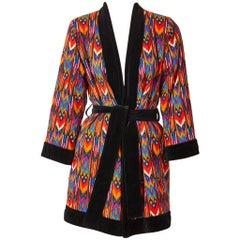 Yves Saint Laurent Ikat Pattern Belted  wrap Jacket