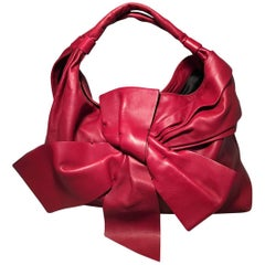 Valentino Red Leather Bow Front Hobo Shoulder Bag