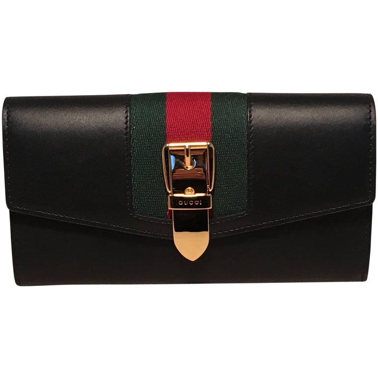 Gucci Navy Blue Leather Long Sylvie Wallet
