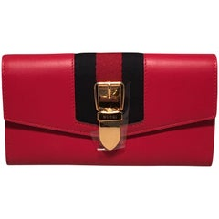 Gucci Red Leather Long Sylvie Wallet