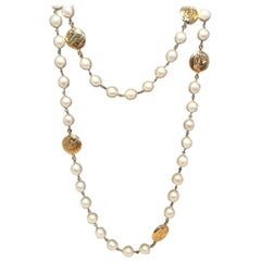 Chanel Vintage Peal and Gold Coin Necklace