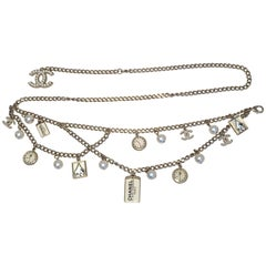 Chanel Silver Chain Multi Strand Charm Belt Necklace-RARE