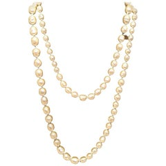 Chanel Vintage Classic Long Strand of Pearls Necklace