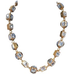 Chanel Gold Crystal Square Beaded Choker Necklace