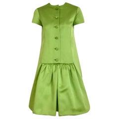 Geoffrey Beene Lime Green Silk Satin Cocktail Dress, 1960s