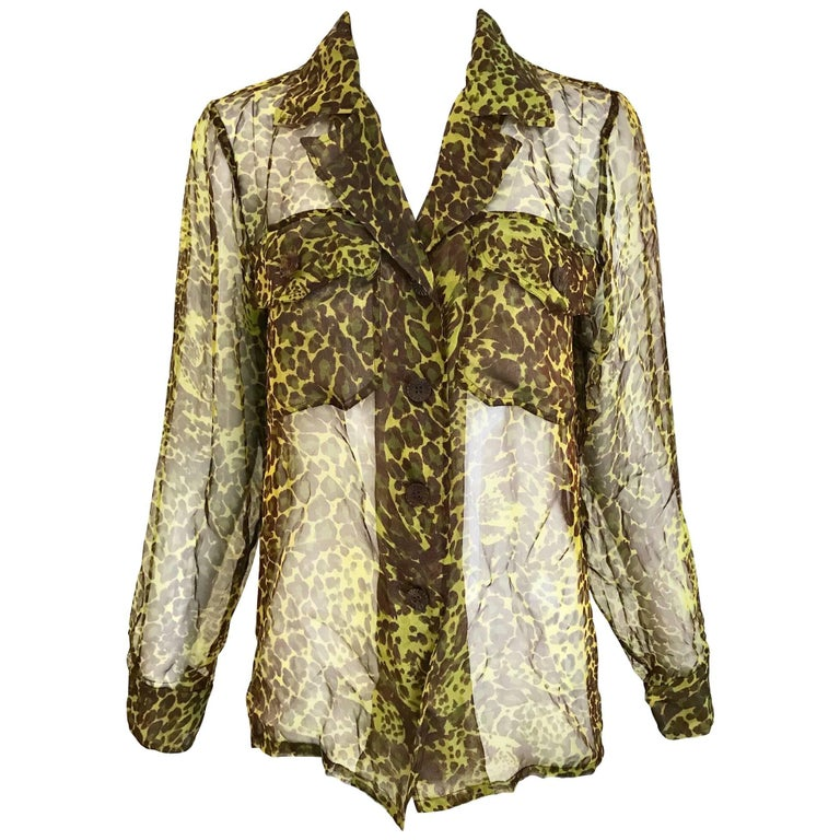 1990s Yves Saint Laurent Green and Brown Leopard Print Silk Blouse