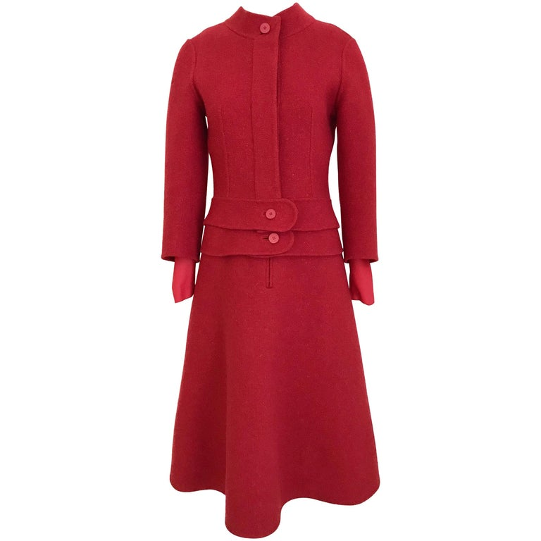 1950s Grès Red Jersey  Wool Dress with Cropped Jacket set