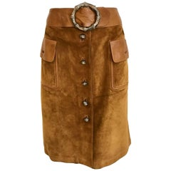 1970s GUCCI Brown Suede Leather Skirt
