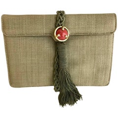 Ugo Correani Olive Green Linen Clutch