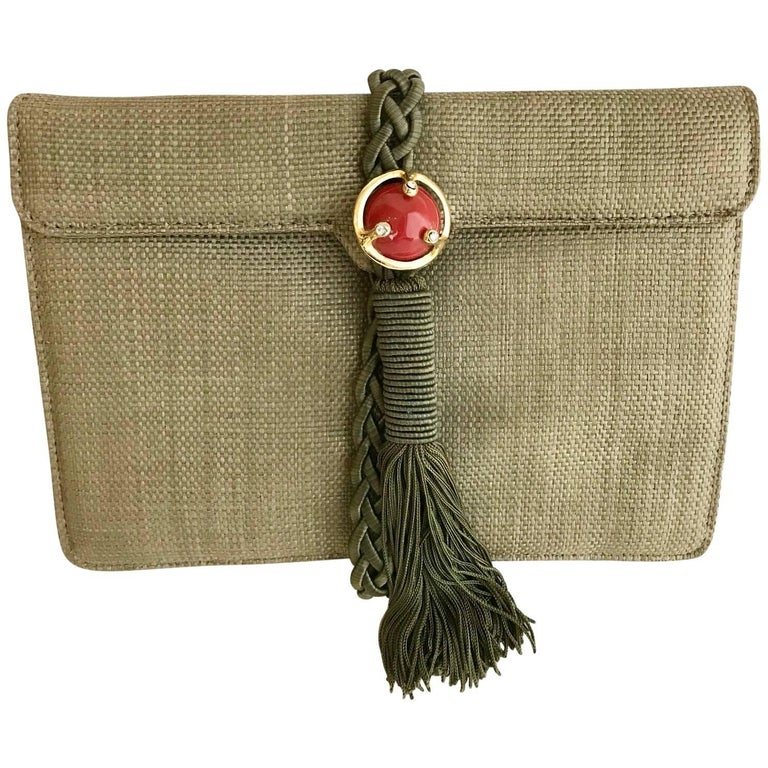 Ugo Correani Olive Green Linen Clutch  For Sale