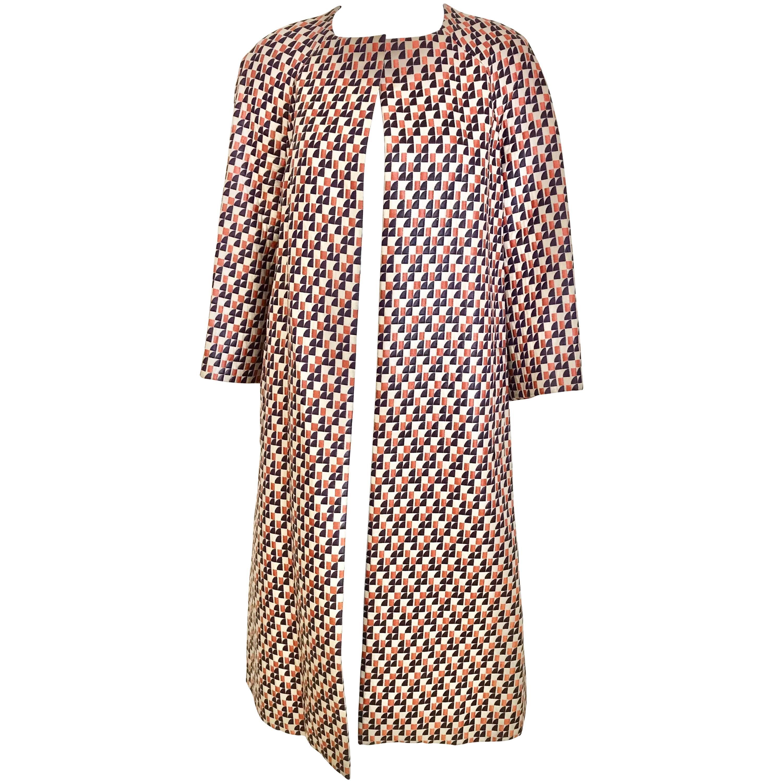 1960s Multi Color Checkered Print Coat