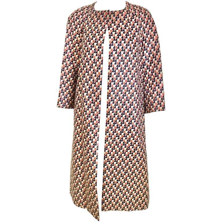 1960s Multi Color Checkered Print Coat