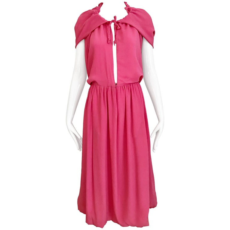 1970s Pink Crepe De Chine Summer Cocktial Dress with hood