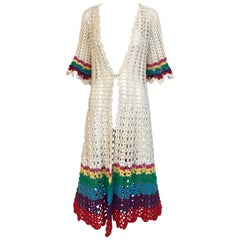 1970s White Cotton Crochet summer  Coat