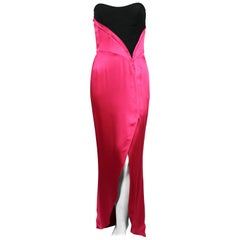Thierry Mugler fuchsia charmeuse gown with black bodice, 1990s