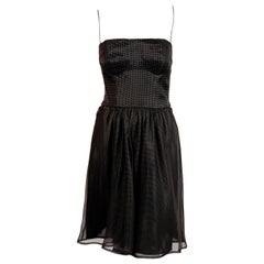 1980's GIORGIO ARMANI black silk bustier dress