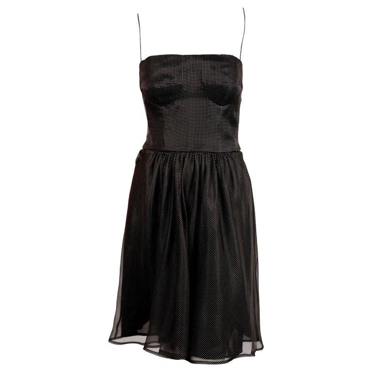 1980's GIORGIO ARMANI black silk bustier dress