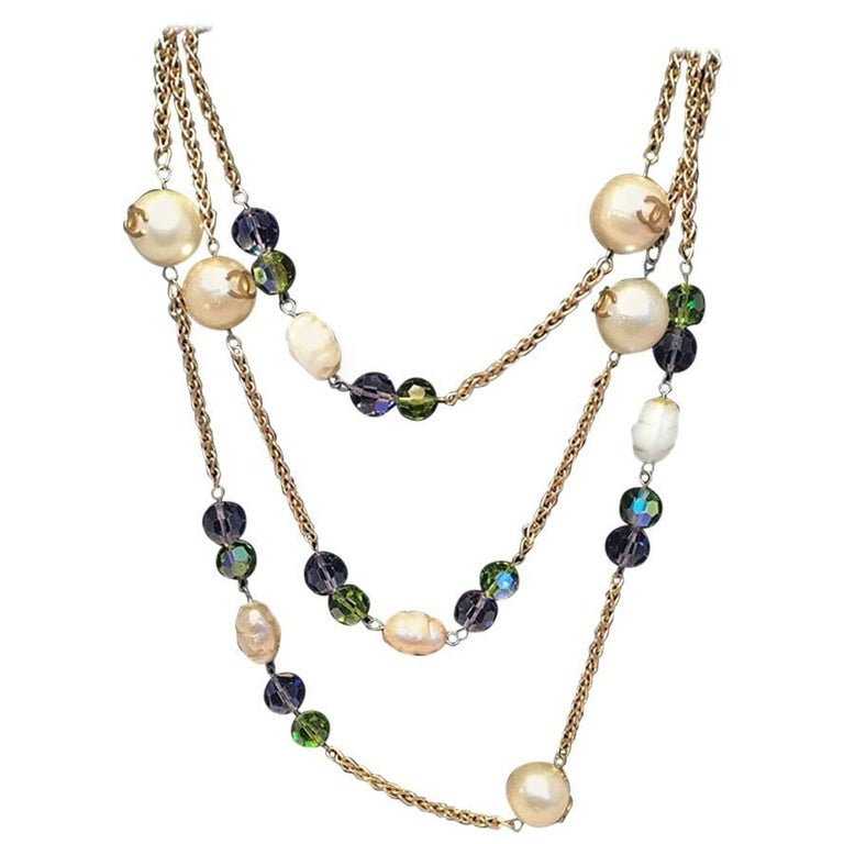 Chanel Vintage Large Pearls and Green and Purple Crystal Bead Gold Necklace  For Sale