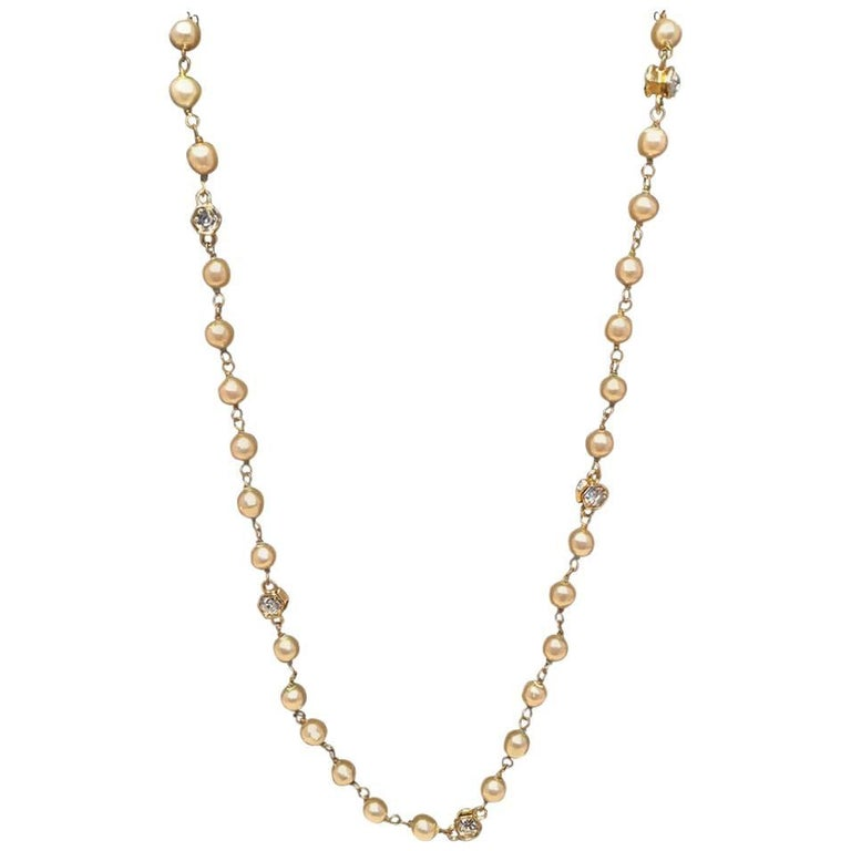 Chanel Vintage Pearl and Small Crystal Beaded Necklace For Sale