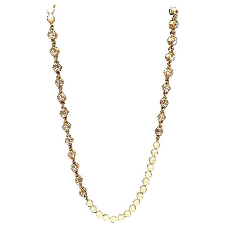 Chanel Vintage Pearl and Crystal Beaded Necklace For Sale