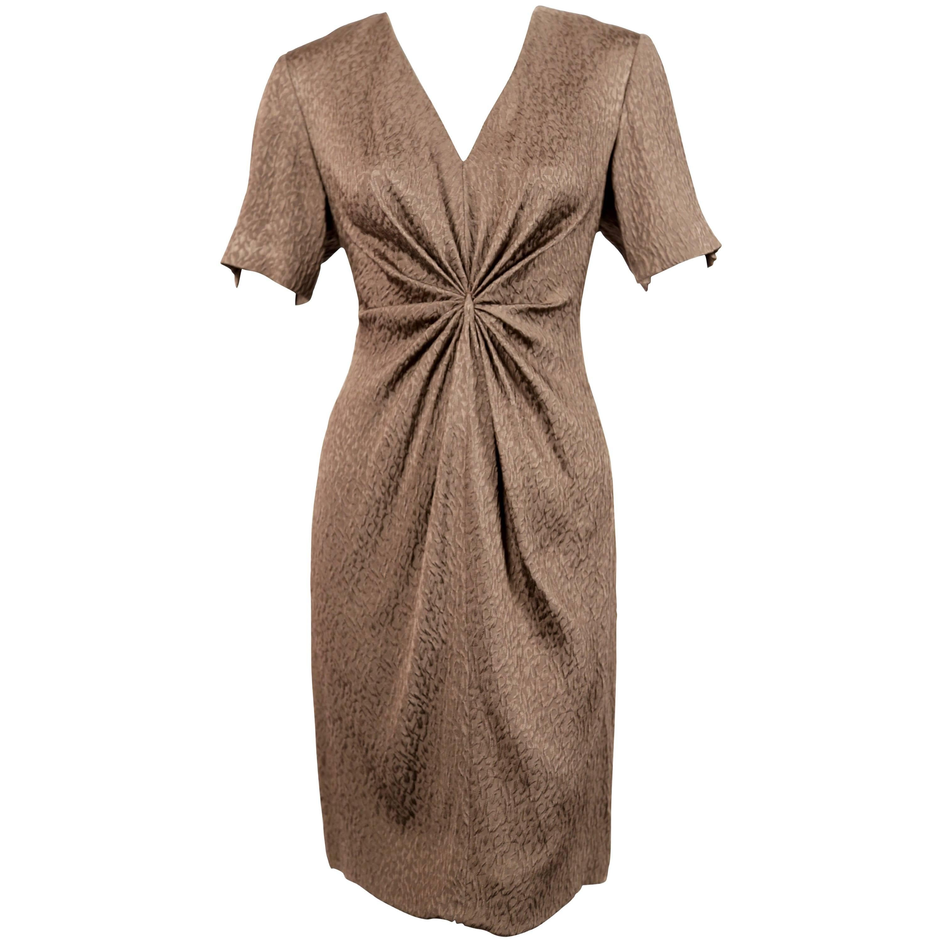 1970's ANDRE LAUG silk dress with gathered waist