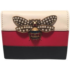 NWOT Gucci Small Striped Leather Embellished Bee Wallet