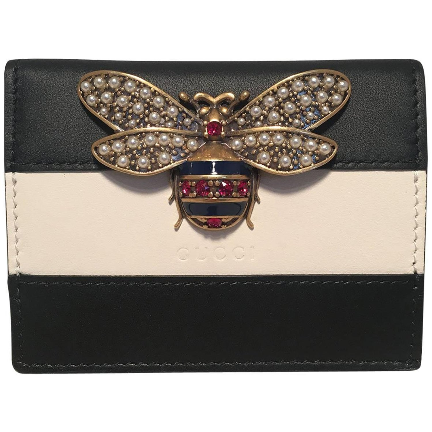 2ff0d6fbc04c NWOT Gucci Small Navy and Cream Striped Leather Embellished Bee Wallet For  Sale at 1stdibs