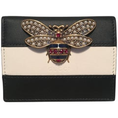 NWOT Gucci Small Navy and Cream Striped Leather Embellished Bee Wallet