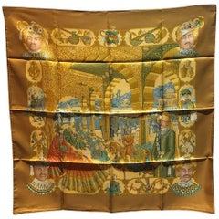 Hermes Vintage Splendeurs des Maharajas Silk Scarf in Gold