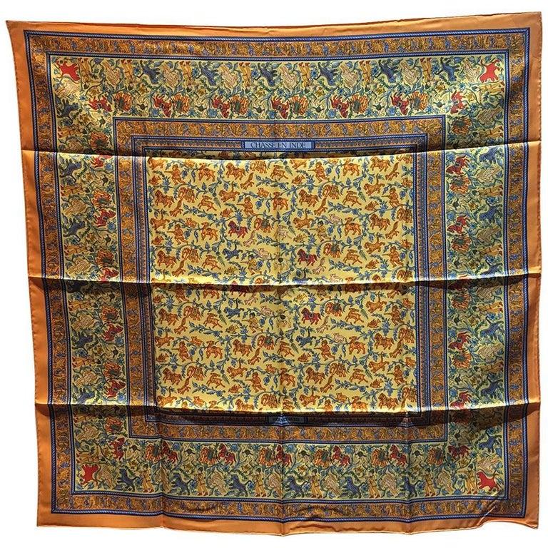 Hermes Vintage Chasse en Inde Orange Silk Scarf