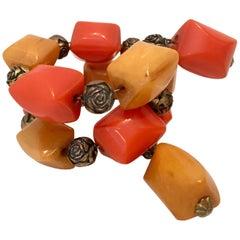 "1930'S Bakelite & Brass Bead Nugget Twist ""Memory"" Bracelet"