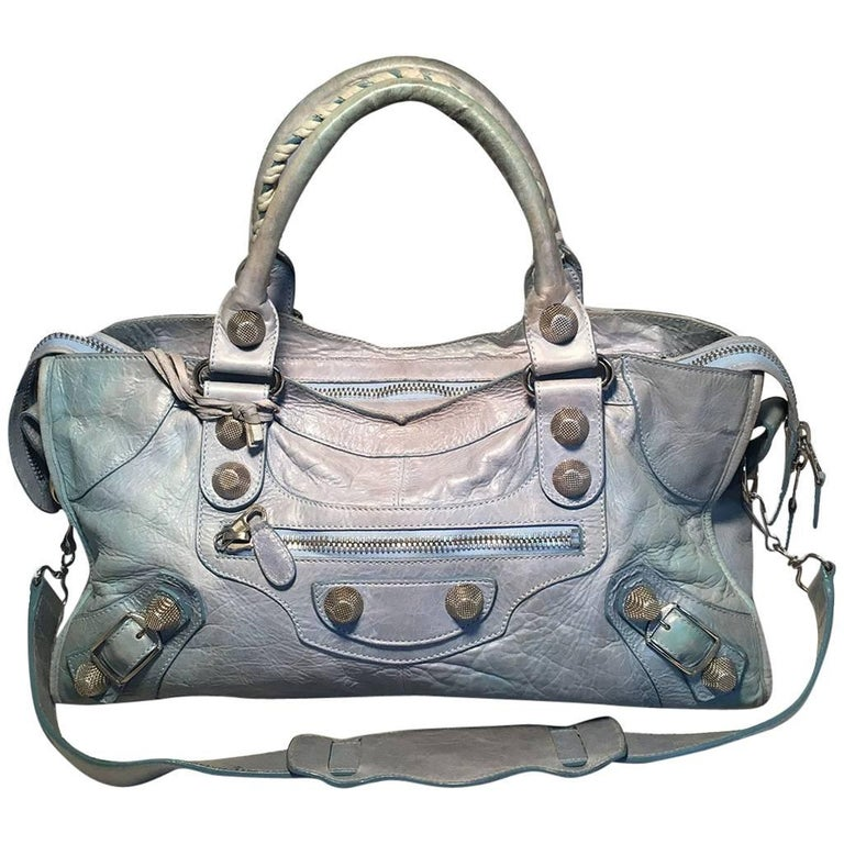 Balenciaga Light Blue Leather Classic City Bag