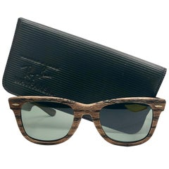 Ray Ban Wayfarer The Woodies Dark Tiki Edition USA Sunglasses, 1980s