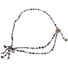CHANEL Belt-Necklace in Multicolored Beads and Pink CC