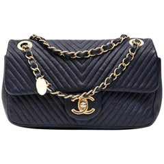 Chanel Mini Bag in Blue Leather with Herringbone Pattern