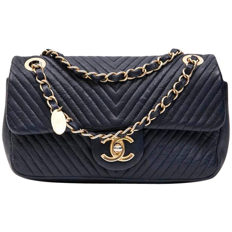 Chanel Mini Bag in Blue Leather with Herringbone Pattern