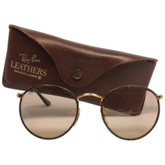 Ray Ban Vintage Leathers Brown Round B&L Sunglasses, 1980s