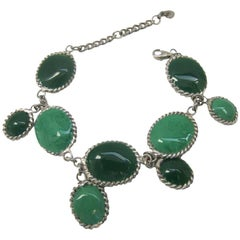 MARGUERITE DE VALOIS Waterfalls Couture bracelet in Green Molten Glass