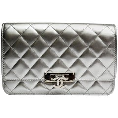 Chanel Silver Leather Crossbody Bag