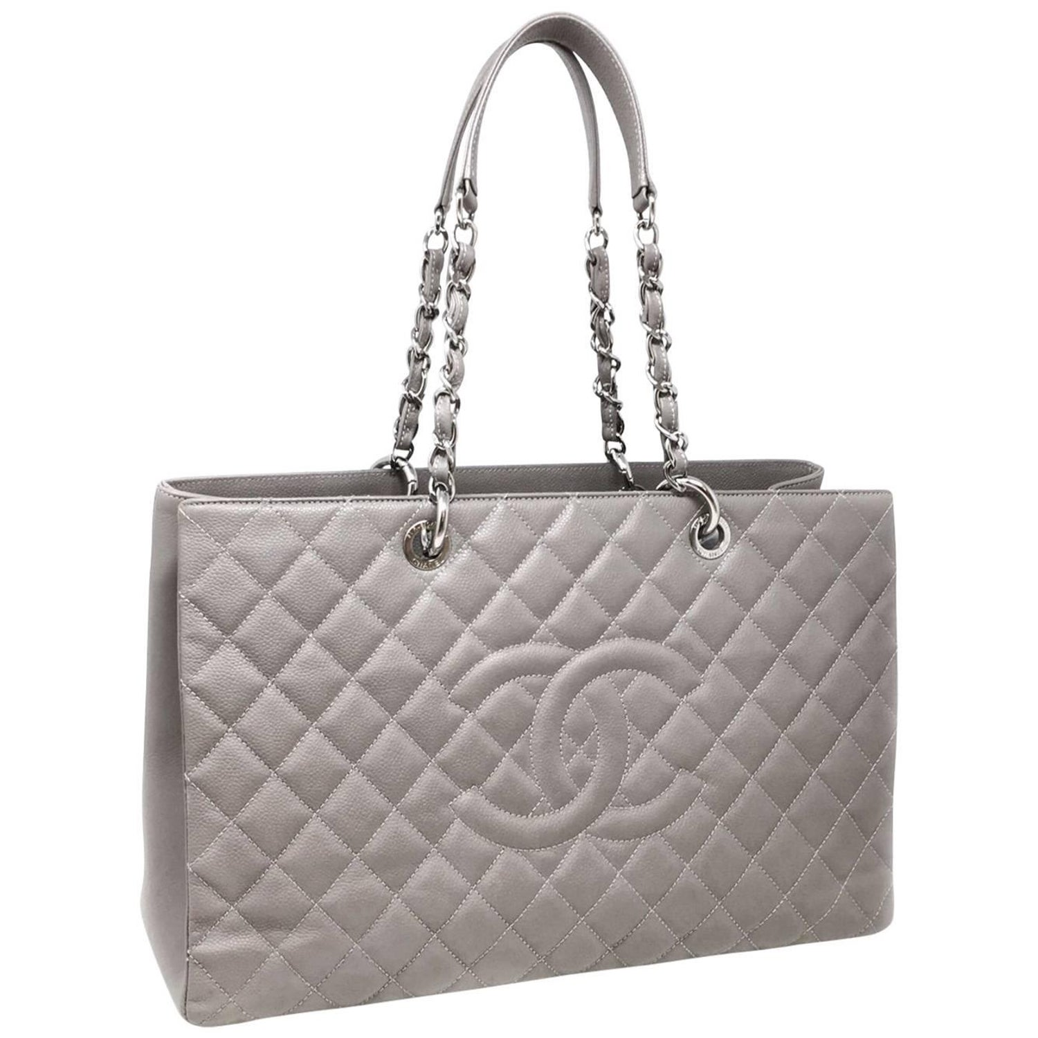 35886dbe3575c7 Chanel Grey Caviar Maxi GST Shopping Tote Chain Shoulder Bag, 2012 at  1stdibs