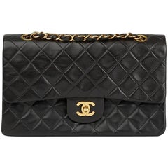 1997 Chanel Black Quilted Lambskin Vintage Medium Classic Double Flap Bag