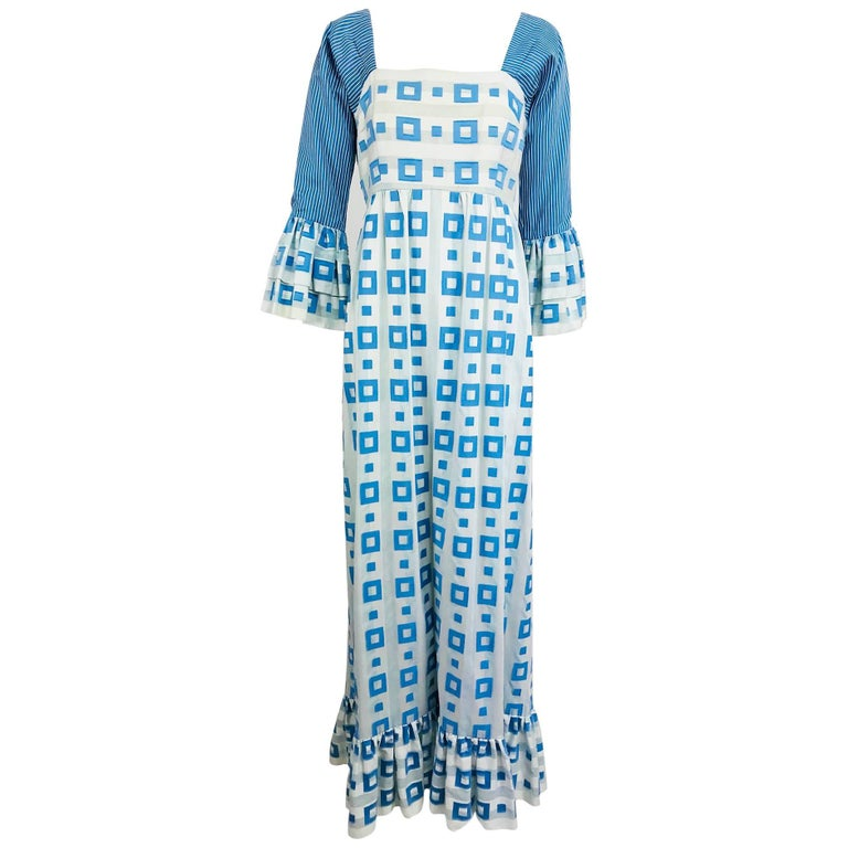Tina Leser Original blue and white cotton maxi dress, 1960s For Sale