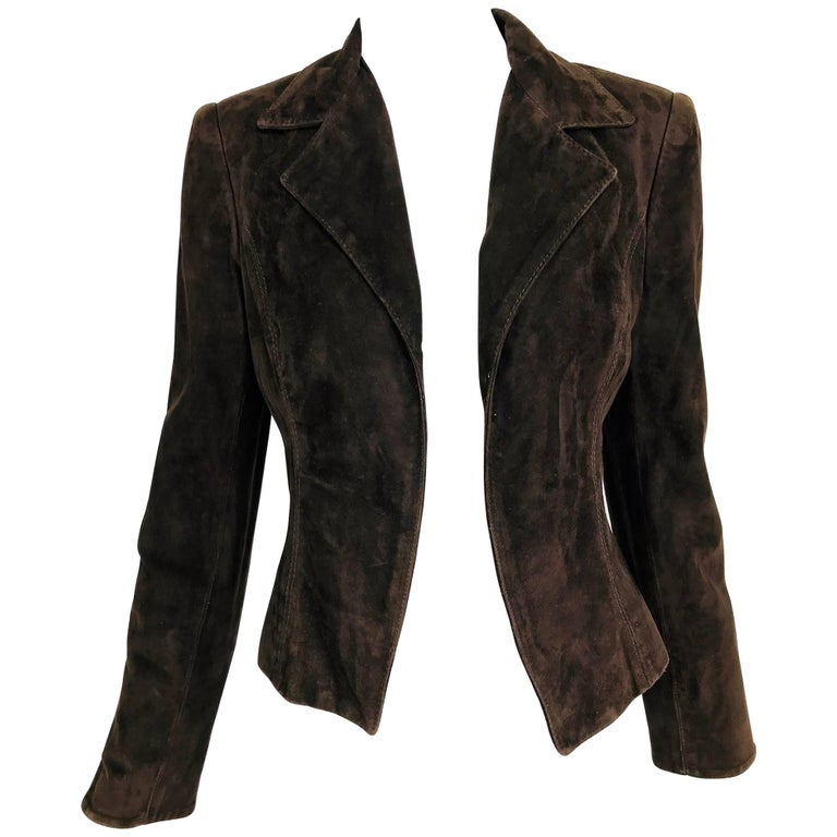 Valentino Chocolate brown top stitched suede jacket