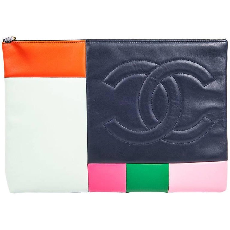 CHANEL Pouch in Multicolored Smooth Lamb Leather