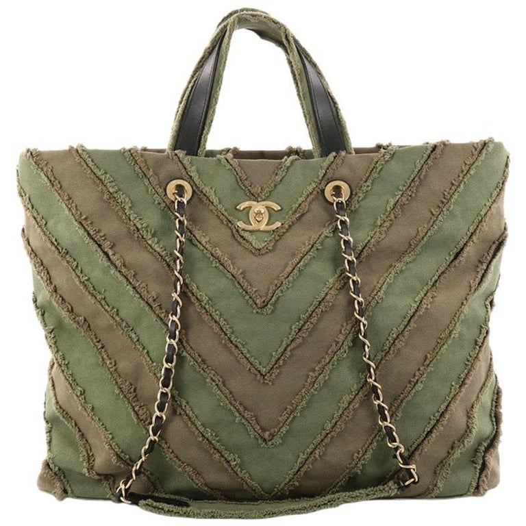 7bfd7c4c840a Chanel Shopping Tote Chevron Canvas Patchwork Large at 1stdibs