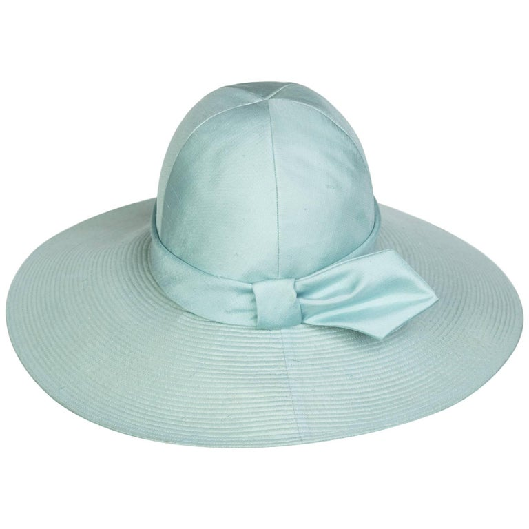 Yves Saint Laurent YSL Soft Blue Silk Hat, 1970s