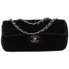 Chanel Vintage CC Flap Bag Quilted Velvet East West
